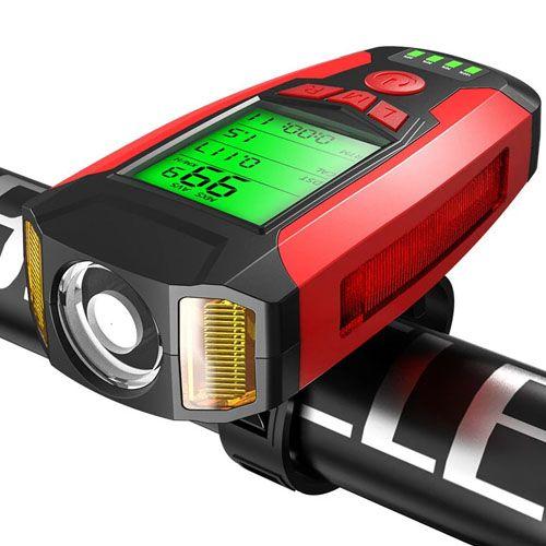 Велозвонок + сигнализация + компьютер + фара AS0808-XPG+2LED