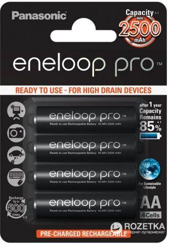 Акумулятор Panasonic eneloop Pro AA 2500 мАч Ni-MH 4 шт (BK-3HCDE/4BE)