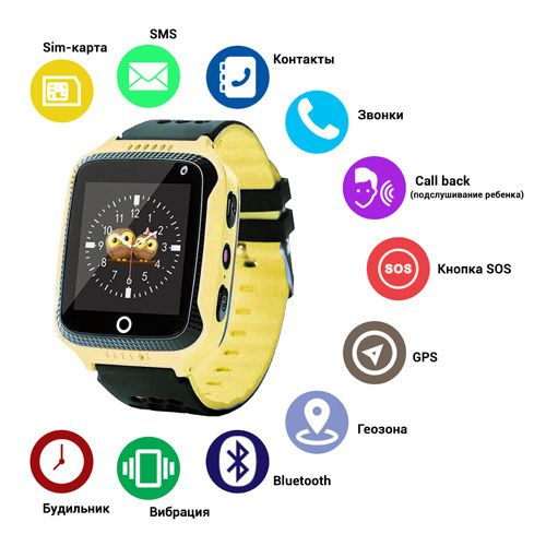 Smart годинник дитячій с  GPS Q528 + камера, Yellow