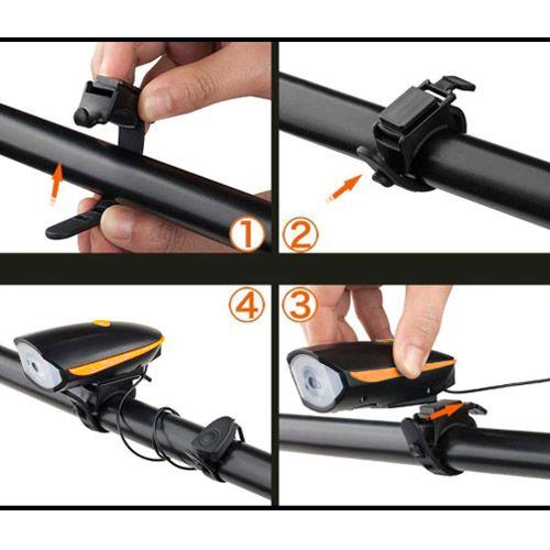 Велосипедний дзвінок с фарою 7588, USB, виносна кнопка