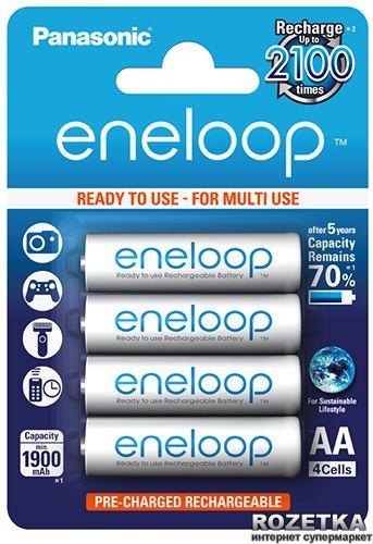 Акумулятори Panasonic eneloop AA 1900 мАч Ni-MH 4 шт (BK-3MCCE/4BE) Оригінал