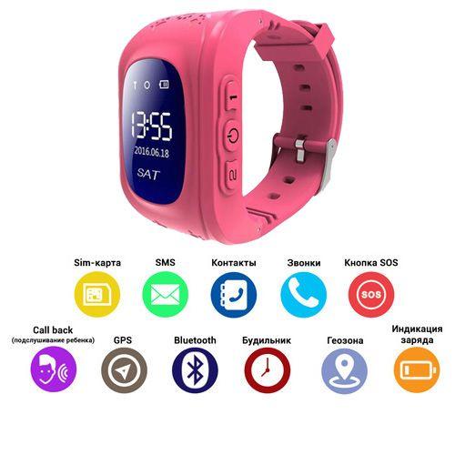 Smart годинник дитячій с GPS Q50-1, Pink