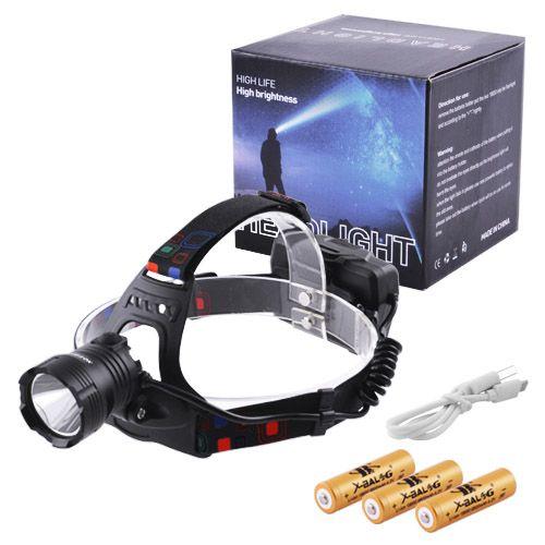 Ліхтар налобний XQ-219-HP50, ЗУ microUSB, 3x18650, signal light
